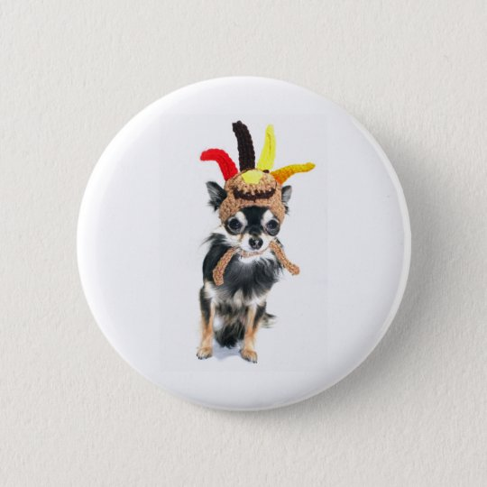 Thanksgiving Turkey Chihuahua Button