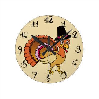 Thanksgiving Turkey Round Wallclocks