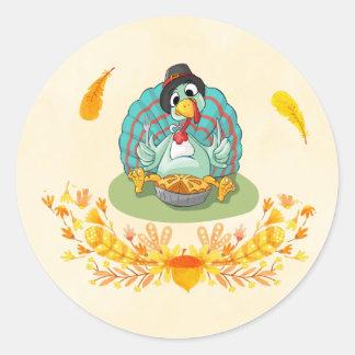 Thanksgiving Turkey Eating Pumpkin Pie Classic Round Sticker