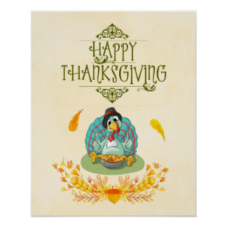 Thanksgiving Turkey Eating Pumpkin Pie Poster