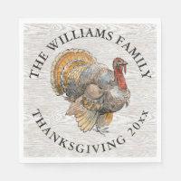 Thanksgiving Turkey Family Name Napkin