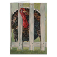 Thanksgiving Turkey Fence Greeting Cards