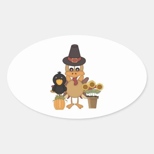 Thanksgiving Turkey Friends Oval Sticker