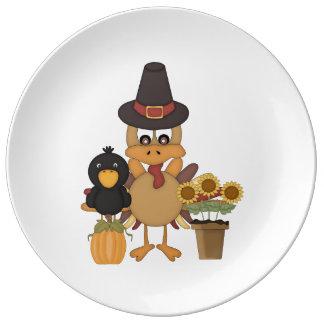Thanksgiving Turkey Friends Porcelain Plate