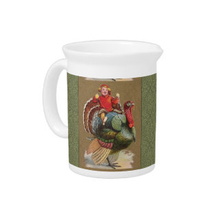 Thanksgiving Turkey Funny Vintage Greetings Beverage Pitcher