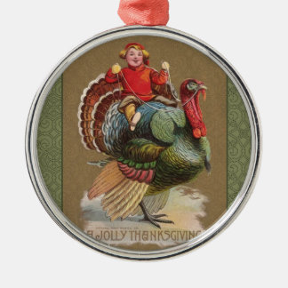 Thanksgiving Turkey Funny Vintage Greetings Metal Ornament