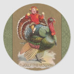 Thanksgiving Turkey Funny Vintage Greetings Classic Round Sticker
