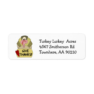 Thanksgiving Turkey Give Thanks Cartoon Label