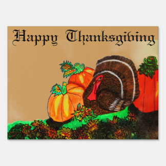 THANKSGIVING TURKEY GOBBLER yard sign