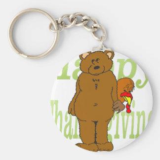 Thanksgiving Turkey Hiding Behind Bear Basic Round Button Keychain