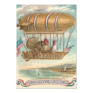 Thanksgiving Turkey Hot Air Balloon US Flag 5x7 Paper Invitation Card