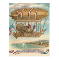 Thanksgiving Turkey Hot Air Balloon US Flag Postcard