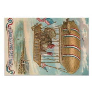 Thanksgiving Turkey Hot Air Balloon US Flag Poster