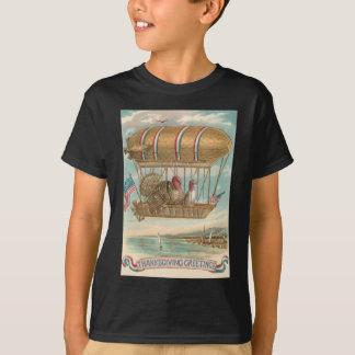 Thanksgiving Turkey Hot Air Balloon US Flag T-Shirt