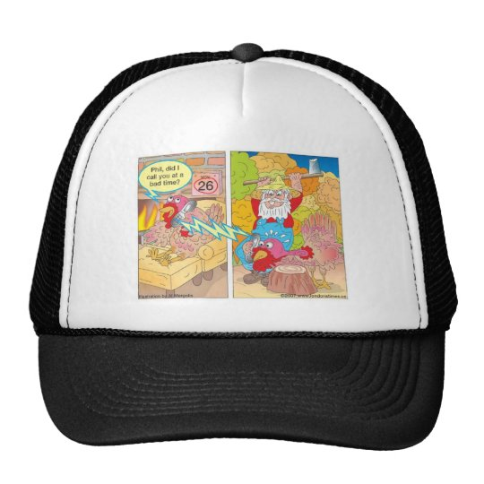 Thanksgiving Turkey On Hold Cartoon Gifts & Tees Trucker Hat