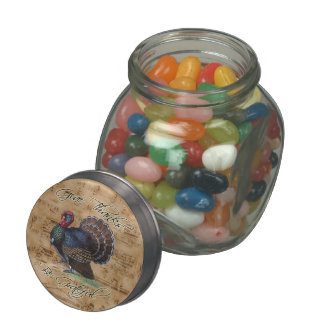 Thanksgiving Turkey on Vintage Music Sheet Glass Candy Jar