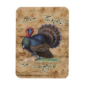 Thanksgiving Turkey on Vintage Music Sheet Magnet