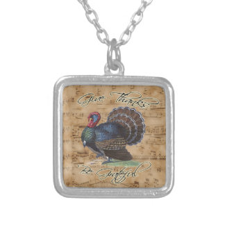 Thanksgiving Turkey on Vintage Music Sheet Silver Plated Necklace