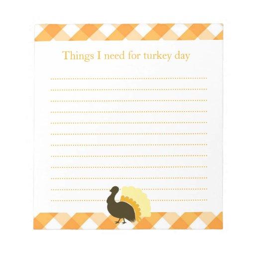Thanksgiving turkey orange gingham shopping list memo note pad