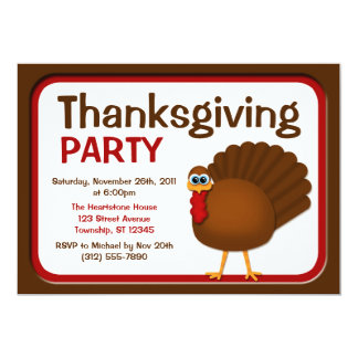 Thanksgiving Turkey Party Invitations