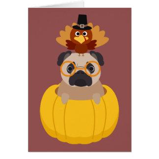Thanksgiving Turkey & Pug Greeting Card