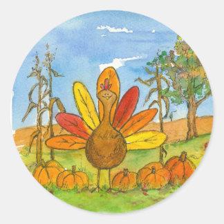 Thanksgiving Turkey Pumpkin Patch Classic Round Sticker