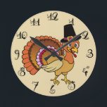 """Thanksgiving Turkey Round Clock<br><div class=""""desc"""">This is a great addition to your Thanksgiving decor. A cute turkey with vivid colors.</div>"""