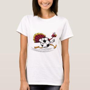 Thanksgiving Turkey Soccer or Football Run T-Shirt