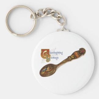 Thanksgiving Turkey Spoon Basic Round Button Keychain