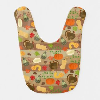 Thanksgiving Turkey Squash Autumn Harvest Pattern Baby Bib