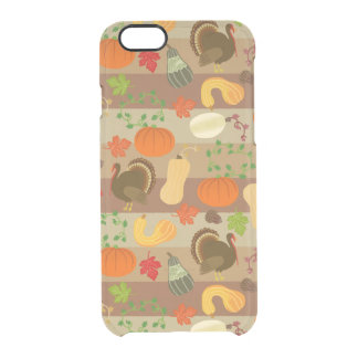 Thanksgiving Turkey Squash Autumn Harvest Pattern Clear iPhone 6/6S Case