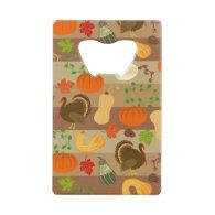 Thanksgiving Turkey Squash Autumn Harvest Pattern Credit Card Bottle Opener