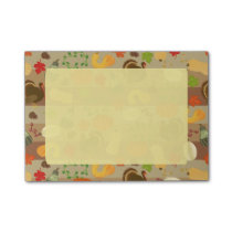 Thanksgiving Turkey Squash Autumn Harvest Pattern Post-it Notes