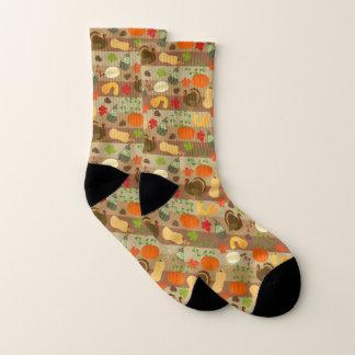 Thanksgiving Turkey Squash Autumn Harvest Pattern Socks