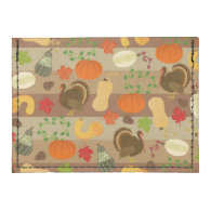 Thanksgiving Turkey Squash Autumn Harvest Pattern Tyvek® Card Wallet