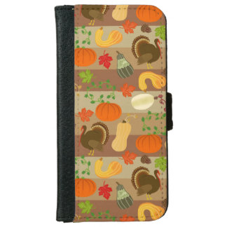Thanksgiving Turkey Squash Autumn Harvest Pattern Wallet Phone Case For iPhone 6/6s