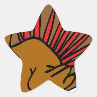 Thanksgiving Turkey Star Sticker