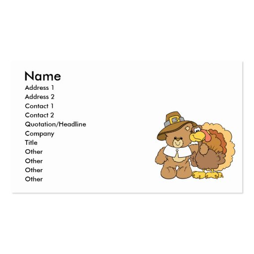 thanksgiving turkey teddy bear design business card template