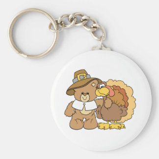 thanksgiving turkey teddy bear design keychain