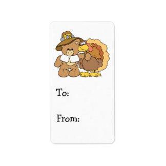 thanksgiving turkey teddy bear design label
