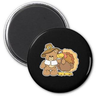 thanksgiving turkey teddy bear design fridge magnet