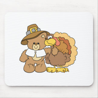 thanksgiving turkey teddy bear design mouse pad