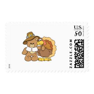 thanksgiving turkey teddy bear design postage