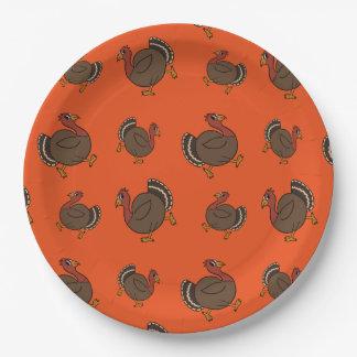 "Thanksgiving Turkey Trot Orange Paper Plates 9"""