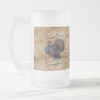 Thanksgiving Turkey Vintage Illustration Frosted Glass Beer Mug