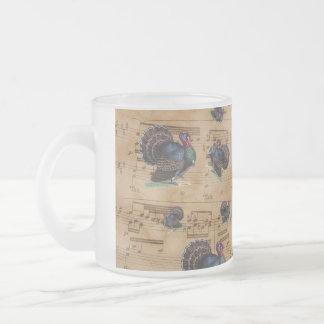Thanksgiving Turkey Vintage Illustration Frosted Glass Coffee Mug