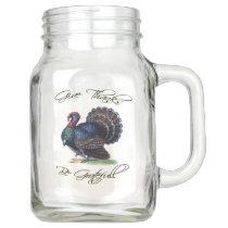 Thanksgiving Turkey Vintage Illustration Mason Jar