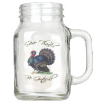 Thanksgiving Turkey Vintage Illustration Mason Jar