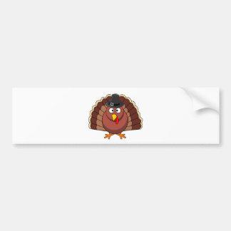 Thanksgiving Turkey with Pilgrim Hat Bumper Sticker