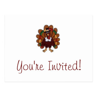 Thanksgiving Turkey You're Invited postcard